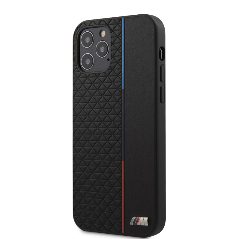 BMW PU Triangles Tricolor Line Kryt pro iPhone 12/12 Pro Black (BMHCP12MTRTBK)