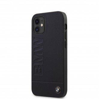 BMW Leather Hot Stamp  Kryt pro iPhone 12 Mini Navy (BMHCP12SSLLNA)