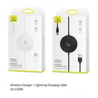 USAMS CC096 Bezdrátová nabíječka + Lightning Nabíjecí Kabel White