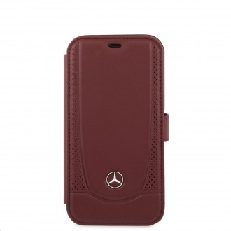 Mercedes Perforated Leather Book Pouzdro pro iPhone 12 Mini Red (MEFLBKP12SARMRE)