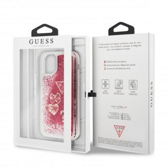 Guess Glitter Hearts Zadní Kryt pro iPhone 11 Pro Max Rapsberry (GUHCN65GLHFLRA)