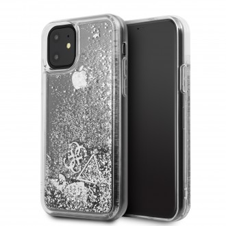 GUHCN61GLHFLSI Guess Glitter Hearts Zadní Kryt pro iPhone 11 Silver