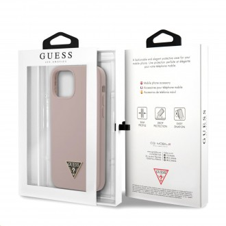 Guess Silicone Metal Triangle Zadní Kryt pro iPhone 12 Pro Max Light Pink (GUHCP12LLSTMLP)