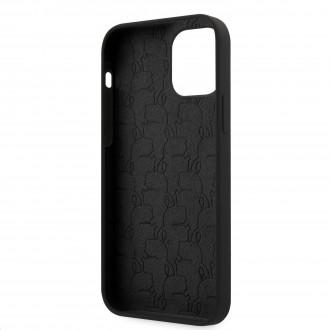 Karl Lagerfeld Head Silikonový Kryt pro iPhone 12/12 Pro Black (KLHCP12MSLKHBK)