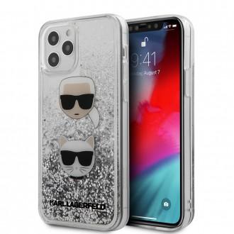Karl Lagerfeld Liquid Glitter 2 Heads Kryt pro iPhone 12 Pro Max Silver (KLHCP12LKCGLSL)