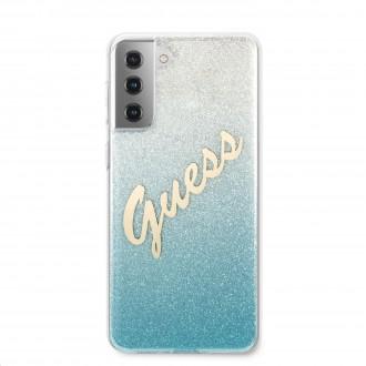 Guess PC/TPU Vintage Zadní Kryt pro Samsung Galaxy S21 Gradient Light Blue (GUHCS21SPCUGLSBL)