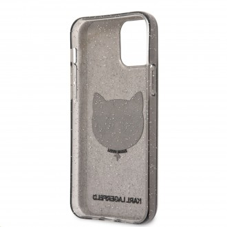 Karl Lagerfeld Choupette Head Glitter Kryt pro iPhone 12/12 Pro 6.1 Black (KLHCP12MCHTUGLB)