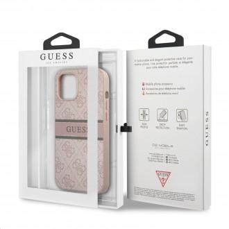 Guess PU 4G Printed Stripe Zadní Kryt pro iPhone 12/12 Pro Pink (GUHCP12M4GDPI)