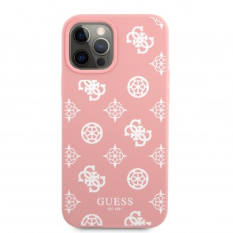 Guess Liquid Silicone White Peony Zadní Kryt pro iPhone 12 Pro Max Pink (GUHCP12LLSPEWPI)