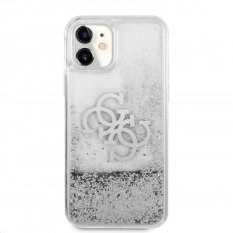 Guess TPU Big 4G Liquid Glitter Silver Zadní Kryt pro iPhone 11 Transparent (GUHCN61LG4GSI)