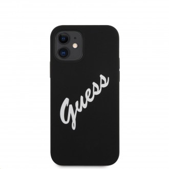 Guess Silicone Vintage White Script Zadní Kryt pro iPhone 12 mini 5.4 Black (GUHCP12SLSVSBW)