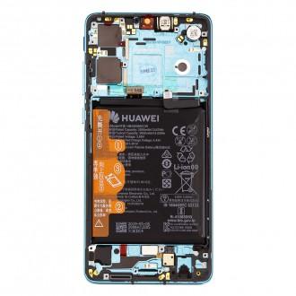 Huawei P30 LCD Display + Dotyková Deska + Přední Kryt Aurora Blue (Service Pack)