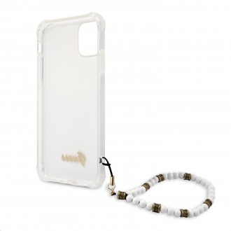 Guess PC Script and White Pearls Zadní Kryt pro iPhone 11 Transparent (GUHCN61KPSWH)