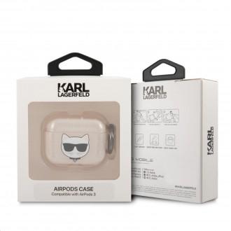 KLA3UCHGD Karl Lagerfeld TPU Glitter Choupette Head Pouzdro pro Airpods 3 Gold