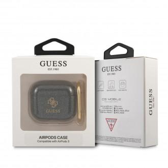 GUA3UCG4GK Guess 4G TPU Glitter Pouzdro pro Airpods 3 Black