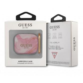 GUA3UNMP Guess TPU Shiny Marble Pouzdro pro Airpods 3 Pink