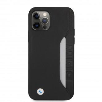 BMHCP12MRCSWK BMW Signature Leather Card Slot Kryt pro iPhone 12/12 Pro 6.1 Black