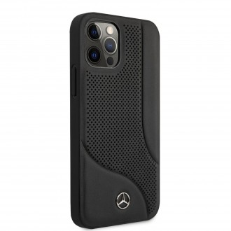 MEHCP12LCDOBK Mercedes Perforated Leather Zadní Kryt pro iPhone 12 Pro Max 6.7 Black