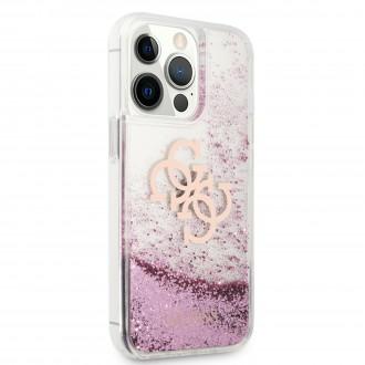 GUHCP13LLG4GPI Guess TPU Big 4G Liquid Glitter Pink Zadní Kryt pro iPhone 13 Pro Transparent