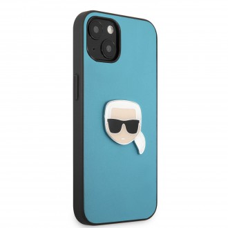 KLHCP13SPKMB Karl Lagerfeld PU Leather Karl Head Kryt pro iPhone 13 mini Blue