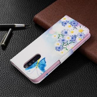 PU kožené knížkové pouzdro pro Xiaomi Redmi 8 - Butterflies and Flowers