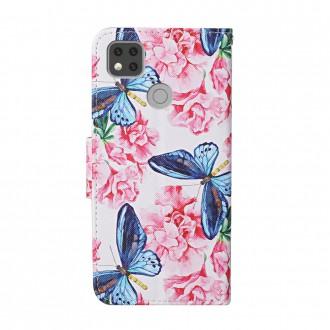 PU kožené knížkové pouzdro pro Xiaomi Redmi 9C - Blue Butterfly