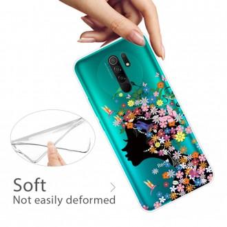 Silikonový obal na telefon Xiaomi Redmi 9 - Flowered Girl